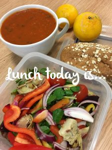 Tomato soup with salad and hummus on a whole grain sub Mon 30th Oct