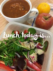 Lentil soup with salad, a satsuma and a Cox apple Tues 31st Oct