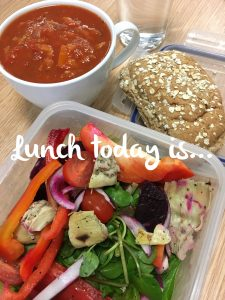 A wonderfully rich tomato soup with a hint of heat, salad and hummus on a whole grain oaty topped sub Wed 1st Nov